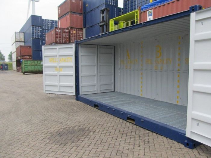 20ft lekbak container met open zijkant